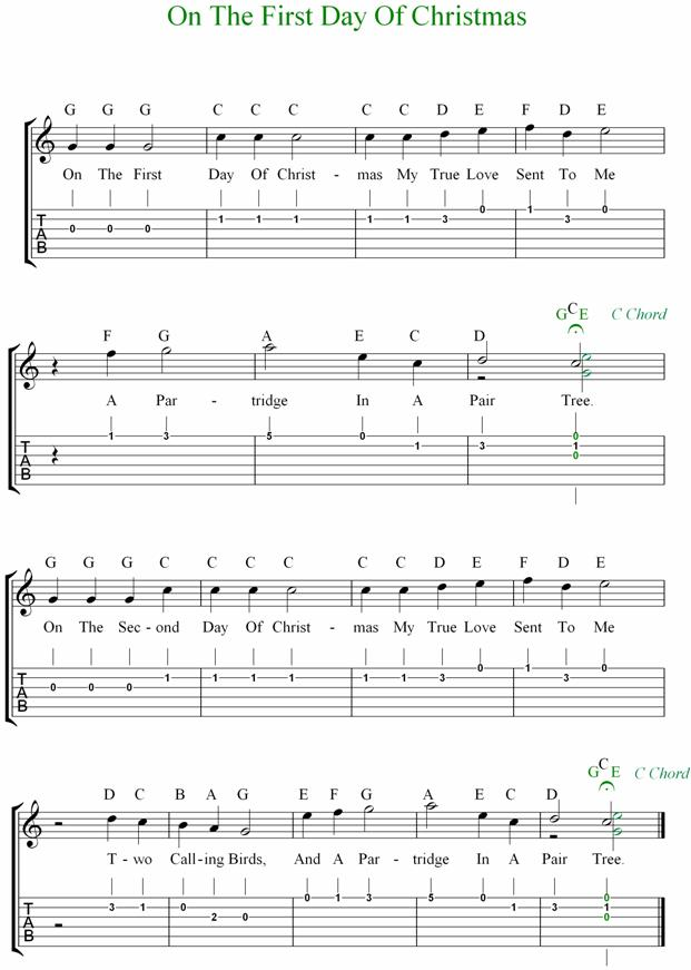 Days Of Christmas Guitar Tab.