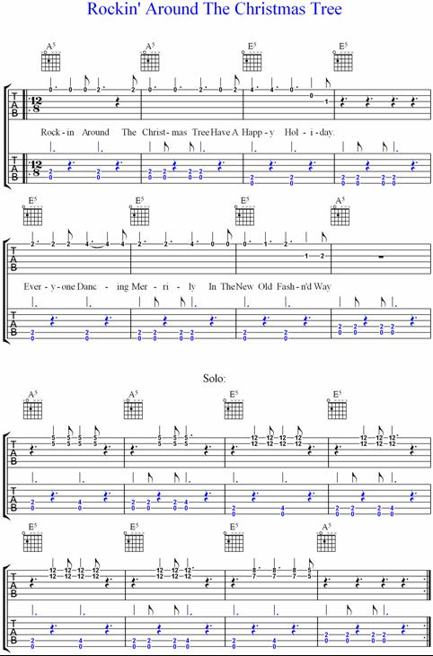 Rockin\' Around The Christmas Tree, Guitar Tab.
